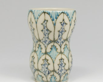 Ceramic Handmade Small Vase - with Green, Turquoise and Navy Pattern