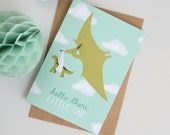 New Baby Card, Dinosaur Baby Card, Pterodactyl Card, Stork Baby Card, Card for Babies, Card for New Mums, Alternative Baby Card
