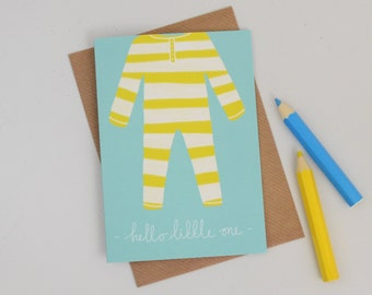 New Baby Card, Stripey Yellow Baby Grow Greetings Card, Unisex Baby Card, New Parents, Birth Announcement, Blank Congratulations Baby Card