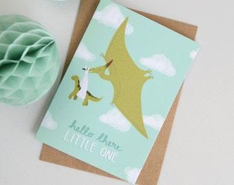 New Baby Card, Dinosaur Baby Card, Pterodactyl Card, Stork Baby Card, Card for Babies, Card for New Mums, Alternative Baby Card