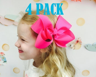 "4 PACK Extra Large Hair Bows, Jumbo Hair Bow, 6"" 6 inch hair bows, big bow, hair bow bundles, jumbo hair bows, hair bows for girls baby xl"