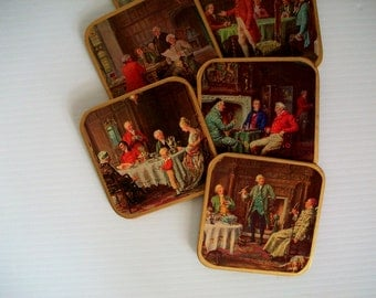 vintage coasters . Victorian style coasters . vintage chess players art . vintage hostess art . drink coasters . art history coasters