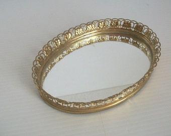 vintage gold filigree vanity | vintage vanity | filigree gold mirror | metal filigree | vintage vanity mirror | vintage gold tray | decor