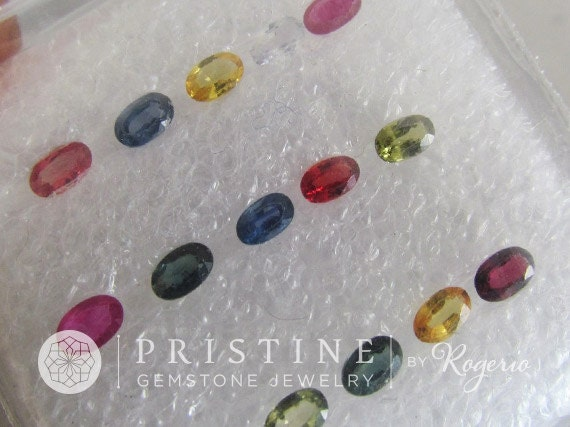 Natural Ceylon Sapphire Oval Shape Lot 4.55 cts Ruby, Blue, Green, Yellow, Pink, Orange, and White Sapphires