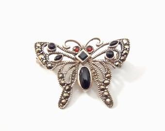 Butterfly Brooch Vintage 1980s Sterling, Marcasite, Black Onyx & Garnet Art Deco Style Pin Marked 925A Delicate Filigree Look Silver Jewelry
