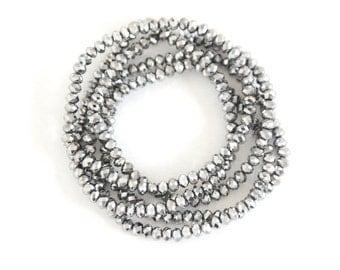 Silver Sparkle Bracelet Stackable Bracelets Beaded bracelet Stretch Bracelet Friendship Bracelet Bohemian Jewelry Beach Boho Gift for Her