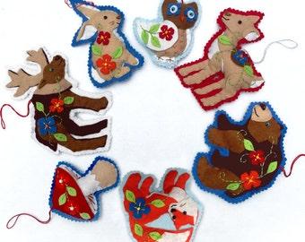 Woodland Animal Ornaments. Felt Ornaments, Christmas Ornaments, DIY Ornaments, PDF Ornament Pattern, Christmas Decorations, Handmade Holiday