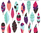 Bold Feathers Clipart Set - clip art set of feathers, tribal, feather, blue, purple - personal use, small commercial use, instant download