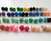 Vintage Blush Rose Earrings- Mint Wedding - Bridesmaid Earrings- 28 Colors - Dusty Pink Earrings - Flowergirl Earrings - Mint Earrings Coral