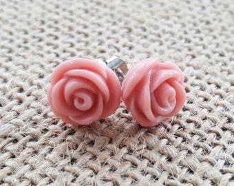 Vintage Rose Pink Rose Earrings- Rose Quartz Wedding - Bridesmaid Earrings- 28 Colors - Dusty Pink Earrings - Flowergirl Earrings