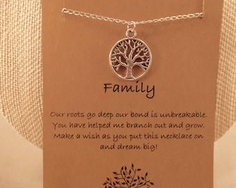 Family Tree Necklace: Tree of Life Charm Necklace, Tree of Life, Charm, Best Friend, Family Necklace, Wish Necklace, Bridesmaid, Wedding