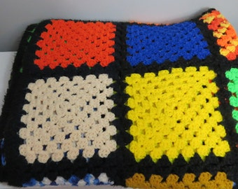 Vintage Colorful Crocheted Granny Square Patchwork Afghan   Box X