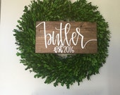 wood last name sign, family sign, family name sign, wedding gift, wedding sign, established wood sign, rustic name sign, farmhouse decor