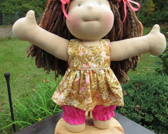Doll Clothes Girl, hand made Dress and Bloomers, fits 15 inch Waldorf style dolls