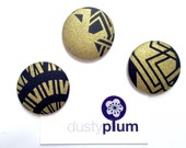 Stunning Magnet Set - Covered Button Magnets Super Large 38mm x 3 Quality Quilting Fabric Black and Gold