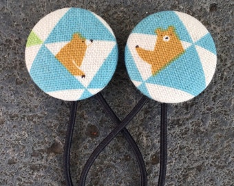 Hello Bear!! Gorgeous Japanese Linen Covered Button Hair Ties - set of two Ponytail holders  Blue Green White Brown