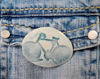 Bicycle Brooch, Bike Pin, Valentines Day Jewelry, ceramic brooch, Porcelain Pin, blue bike, Porcelain brooch, pottery pin, porcelain jewelry