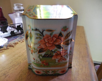 Vintage Daher Tea Tin Hinged Aqua/Teal/Peach Colors Gold Tone 1960s to 1970s Flowers Made in England
