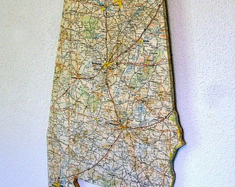 ALABAMA Vintage State Map Wall Art (Small size)