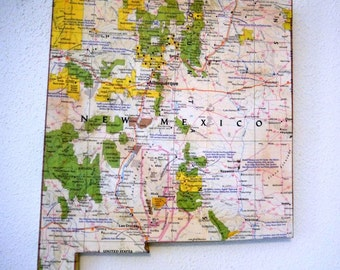 NEW MEXICO Vintage National Geographic State Map Wall Decor (Small size)