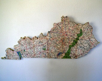 KENTUCKY State Vintage Map Wall Art (large size)