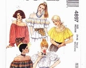 McCalls 4897 Boho Peasant Hippie Top Off Shoulder blouse Midrift Ruffled Sizes 14-16 Uncut Pattern FF