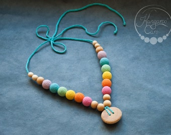 Double Aqua Rainbow Wood Nursing Necklace / Teething Necklace - Chewable Mommy Necklaces - Juniper Wood - Kangaroo Care