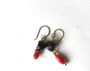 Gold earrings, Black vintage button, Red coral, Assymetrical, Lilyb444
