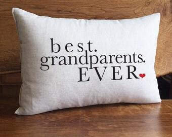 Best Grandparents EVER Home Decor Pillow, Gift For Grandparents, Cotton Linen Pillow, Grandma And Grandpa Pillow