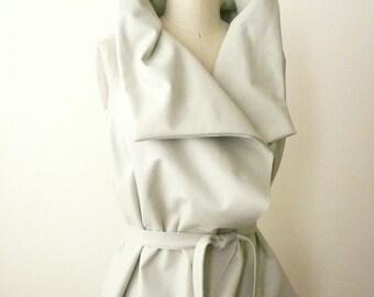 Custom Made Maria Severyna Bone Lambskin Leather Vest jacket