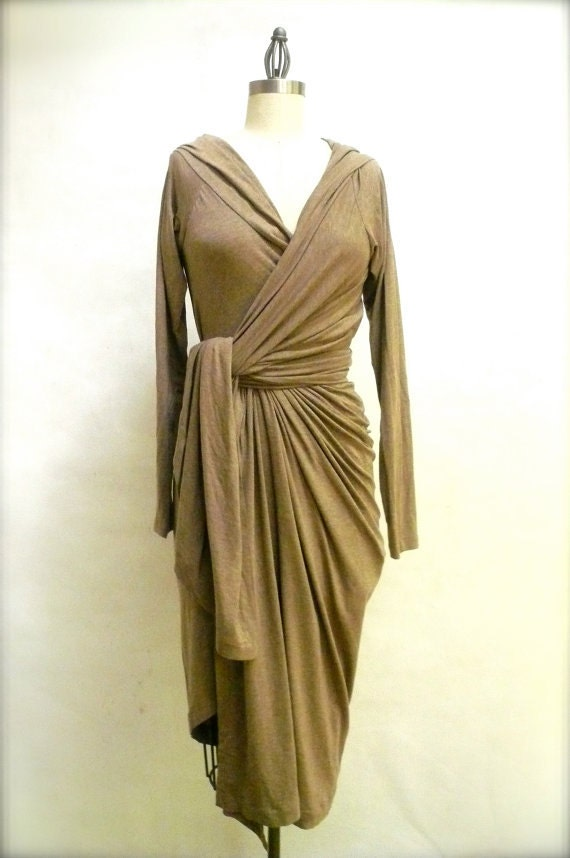 MARIA SEVERYNA Tan Stretch Jeresy Hooded Wrap Sweater dress - many colors available