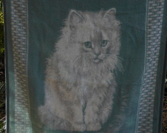 BIEDERLACK Blanket Cat White Teal Reverse