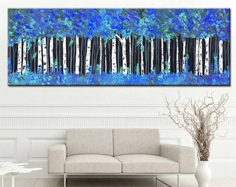 Blue painting print, large blue forest, abstract print, landscape print, print on canvas, aspen forest print, giclee print, blue abstract