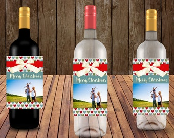 Christmas Wine Labels, Holiday Wine labels Personalized Wine Labels, Photo Wine Labels, Christmas Photo wine labels,  Set of 20