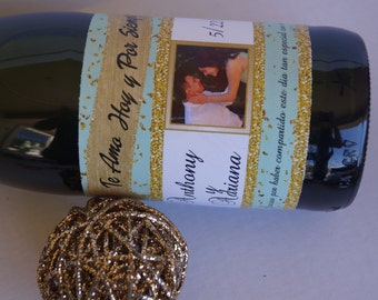 Mint and Gold Champagne Labels, Champagne Labels, wedding labels, Spanish te amo hoy y siempre, mint and gold labels. Set of 20.