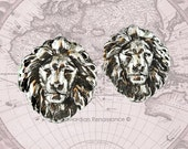 Cufflinks Neo Victorian Antique Sterling Silver Lion Head Safari Cuff Links Vintage Inspired Leo