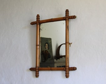 antique french wooden faux bamboo mirror wall mirror - Bamboo Mirror