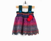Knitted Baby Girl Dress - Red, Teal Green, Purple, 9 - 12 months