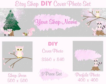 Etsy Shop Banner New Size Cover Photo Set DIY Add Your Shop Name Adorable Pink Winter Banner Instant Download