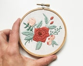 Valentine's Gift for her. Valentine's Bouquet Hand Embroidery. Floral Arrangement Hand Embroidery.