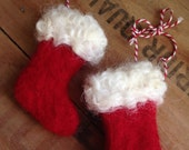 Pair of Wooly Red and White Christmas Stocking Ornaments Needle Felted