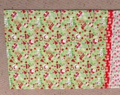 Holiday Sale Christmas Pillowcase Riley Blake Santa and Reindeer Green and Red