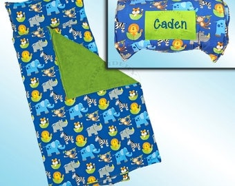 Boy Zoo Nap Mat - All Over Printed - Personalized and Embroidered