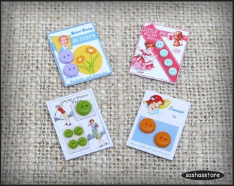 Miniature dollhouse buttons on cards, 12th scale miniature