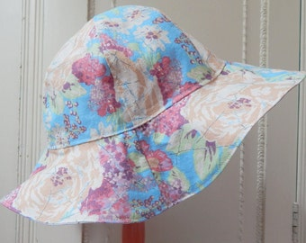 Ready to Ship Sun Hat in 3 Year and Up Size, Girls Blue and Lavender Reversible Sun Hat