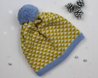 Mustard yellow triangle knitted pom pom hat - made in Great Britain from lambswool