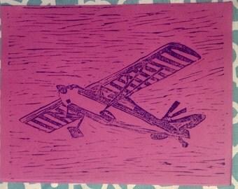 Decathlon-Violet #2. Single pass, hand pulled, linocut.