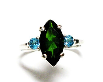 "Chrome diopside, chrome diopside ring, chrome topaz ring, green and blue, 3 stone ring, anniversary ring, s 6 1/2 ""Far & Away"""