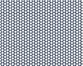 STORE CLOSING Sale Riley Blake FLANNEL Honeycomb White on Navy Blue 1 yard