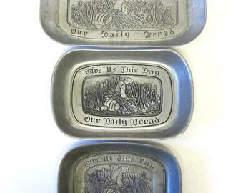 Pewter Daily Bread Plates Set of Three Sizes Large Medium Small